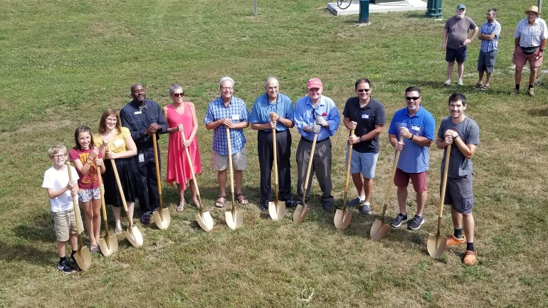 Shovel bearers at the South Hero Library groundbreaking ceremony